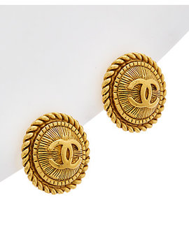 Chanel Gold Tone Rope Edge Cc Earrings by Chanel