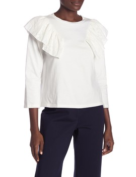 Jersey Top With Ruffle Lace Wing by English Factory