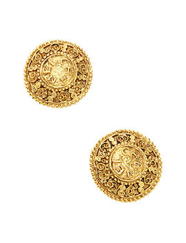 Chanel Vintage Chanel Ornate Round Shield Earrings by Chanel