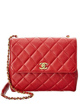 Chanel Red Quilted Caviar Leather Shoulder Bag by Chanel