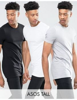 Asos Design Tall 3 Pack Longline Muscle Fit T Shirt With Crew Neck Save by Asos