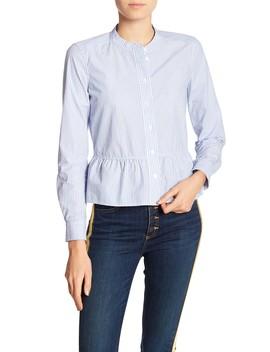 Charlotte Stripe Ruffle Hem Shirt by Veronica Beard