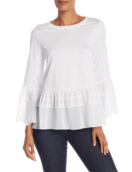 Lace Insert Long Sleeve Top by Bcbgmaxazria