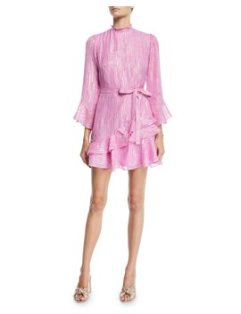 Marissa Metallic Ruffle High Neck Mini Dress by Saloni