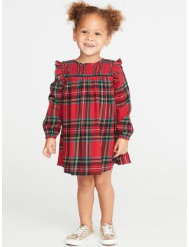 Ruffle Trim Plaid Babydoll Dress For Toddler Girls by Old Navy