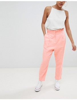 Asos Design Petite Tailored Casual Linen Pants With Frill Waist by Asos Design