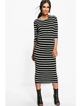 Maternity Striped Long Sleeve Midi Dress by Boohoo