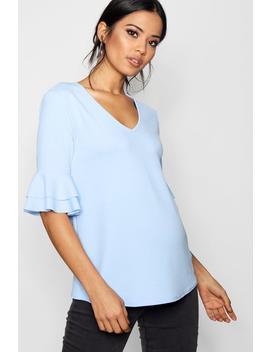 Maternity Ruffle Sleeve V Neck Top by Boohoo