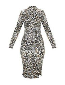 Tan Leopard Print High Neck Tie Waist Midi Dress by Prettylittlething