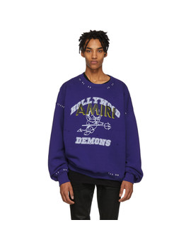Blue Oversized Team Logo Sweatshirt by Amiri