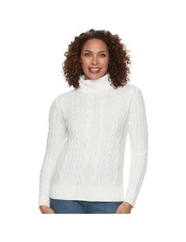 Women's Croft & Barrow® Cable Knit Turtleneck Sweater by Croft & Barrow