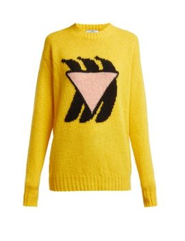 Shetland Intarsia Knit Wool Sweater by Prada