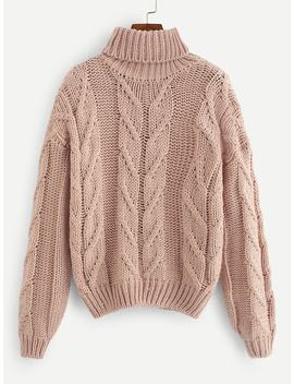 Rolled Neck Solid Jumper by Shein