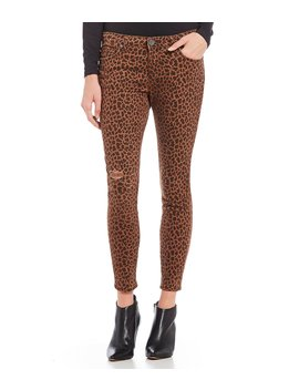 Donna Leopard Print Mid Rise Ankle Skinny Jeans by Kut From The Kloth