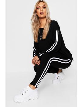 Plus Side Stripe Loungewear Set by Boohoo