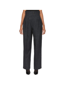 Blue Pleated Microcheck Trousers by Marc Jacobs