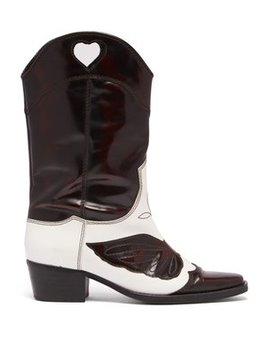 Marlyn Western Leather Boots by Ganni