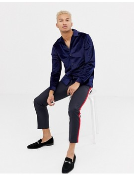 Asos Design Regular Fit Velour Shirt In Navy With Revere Collar by Asos Design
