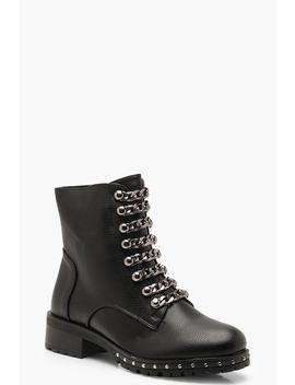 Chain Chunky Hiker Boots by Boohoo