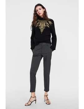 Herringbone Chino Pants  View All Pants Woman by Zara