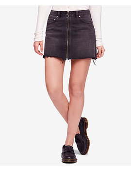 Cotton Denim Zip Front Skirt by Free People