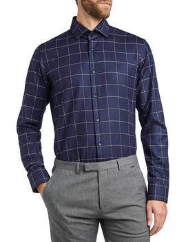 Hugo By Hugo Boss Vordon Window Pane Check Shirt, Navy by Hugo Boss
