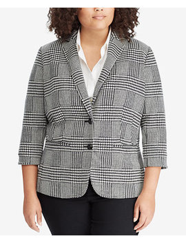 Plus Size Glen Plaid Blazer by Lauren Ralph Lauren