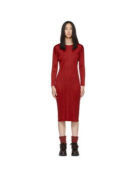Red Pleated Dress by Pleats Please Issey Miyake