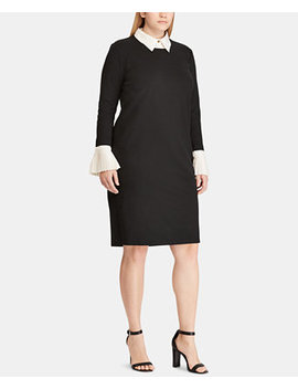 Plus Size Ponté Knit Shift Dress by Lauren Ralph Lauren