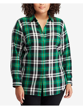 Plus Size Plaid Cotton Shirt by Lauren Ralph Lauren