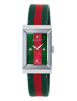 Women's Swiss G Frame Green Red Green Nylon Strap Watch 21x34mm by Gucci