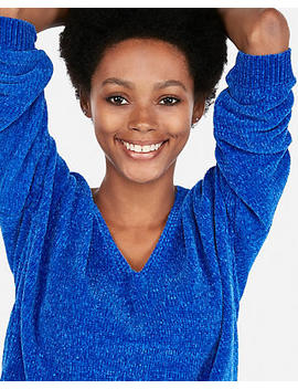 Petite Velvet Chenille V Neck Sweater by Express