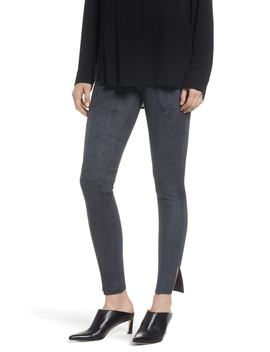 Side Slit Faux Suede Leggings by Zeza B By Hue