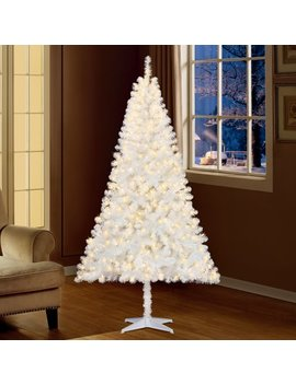 Holiday Time 6.5ft Pre Lit Madison Pine Artificial Christmas Tree With 350 Clear Lights   White by Holiday Time
