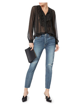 High Rise Destroyed Ankle Crop Jeans by Re/Done