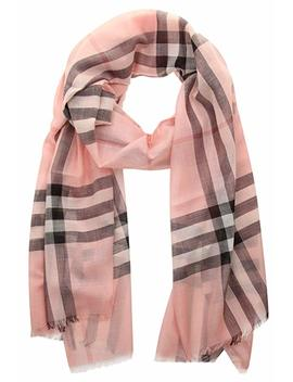 Burberry Lightweight Check Wool And Silk Scarf   Ash Rose by Burberry