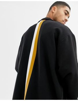 Asos Design Extreme Oversized Duster Jacket In Black With Back Stripes by Asos Design