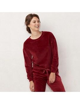 Women's Lc Lauren Conrad Weekend Drawstring Hem Velvet Sweatshirt by Kohl's