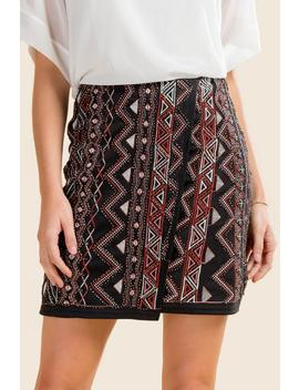 Phedora Beaded Embroidered Skirt by Francesca's