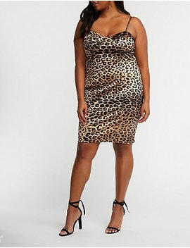 Plus Size Satin Leopard Bodycon Dress by Charlotte Russe