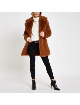 Brown Faux Fur Longline Coat by River Island