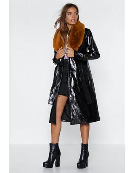 Falling Fur You Faux Fur Trench Coat by Nasty Gal