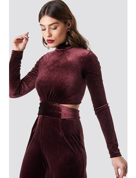 Wrap Waist Velvet Top Wine Red by Na Kd