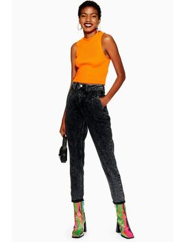 Washed Black Seamed Mom Jeans by Topshop