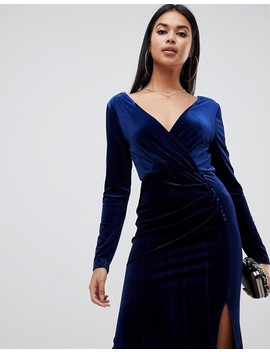Tfnc Velvet Maxi Wrap Dress In Navy by Tfnc