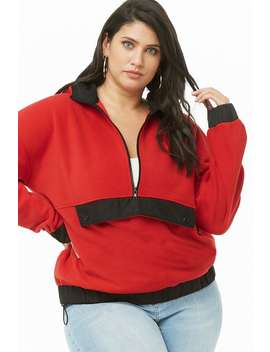 Plus Size Fuzzy Fleece Anorak by Forever 21