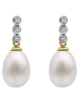 A B Davis 9ct Gold Freshwater Pearl Three Diamond Drop Earrings, White by A B Davis