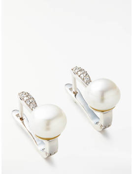 Lido Pearls Button Pearl And Cubic Zirconia Bar Earrings, Silver by Lido Pearls