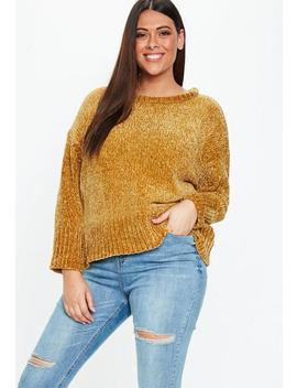 Plus Size Mustard Oversized Soft Chenille Sweater by Missguided