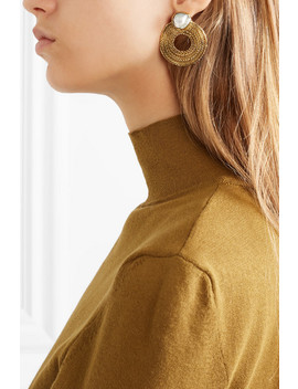 Colette Gold Tone Pearl Earrings by Stvdio